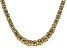 18K Yellow Gold Over Sterling Silver 11.20MM Flat Graduated Byzantine Chain 20 Inch Necklace