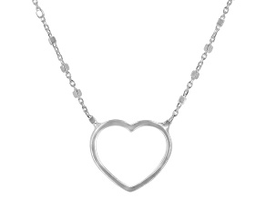 Sterling Silver Heart Station Cable Chain 18 Inch Necklace