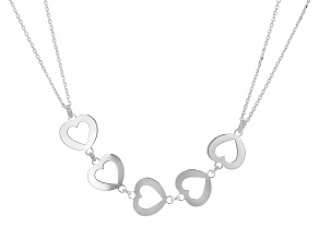 Sterling Silver Multi-Heart Cable Chain 18 Inch Necklace