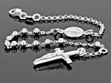 Sterling Silver Beaded Rosary Style Rolo Link 7.5 Inch Bracelet