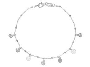 Sterling Silver Station Clover 7.5 Inch Bracelet