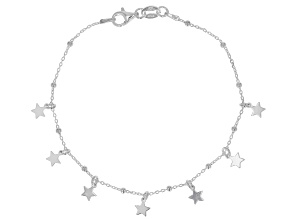 Sterling Silver Station Star 7.5 Inch Bracelet
