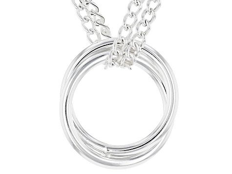 Sterling Silver Two-Strands Curb Chain Rings 18 Inch Necklace