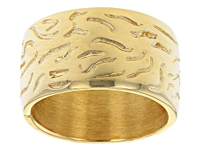 18K Yellow Gold Sterling Silver Wave Design Ring