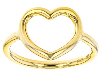 Picture of 18K Yellow Gold Over Sterling Silver Open Heart Design Ring