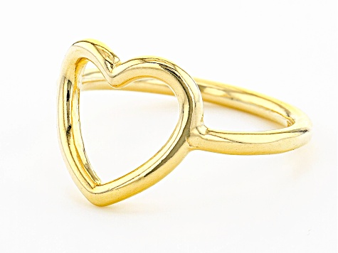 18K Yellow Gold Over Sterling Silver Open Heart Design Ring