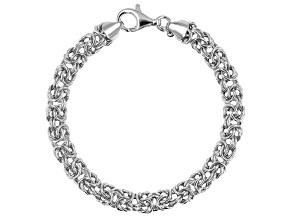 Rhodium Over Sterling Silver 8.4MM Polished Byzantine Link 7.75 Inch Bracelet