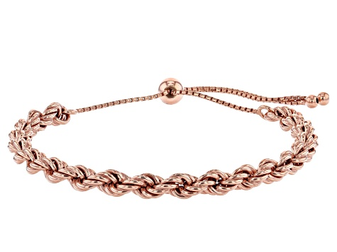 18K Rose Gold Over Sterling Silver Adjustable Rope Link Bracelet