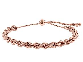 18K Rose Gold Over Sterling Silver Adjustable Rope Link Bracelet