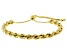 18K Yellow Gold Over Sterling Silver Adjustable Rope Link Bracelet