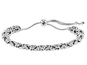 Rhodium Over Sterling Silver 6.6MM Adjustable Byzantine Link Bracelet