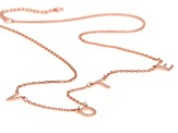 18K Rose Gold Over Sterling Silver VOTE Initial Cable Chain 18 Inch with 2 Inch Extender Necklace