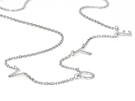 Rhodium Over Sterling Silver VOTE Initial Cable Chain 18 Inch with 2 Inch Extender Necklace