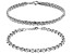 Rhodium Over Sterling Silver 5MM Set of 2 Rolo and Wheat Link 7.5 Inch Bracelets