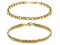 18K Yellow Gold Over Sterling Silver 5MM Set of 2 Rolo and Wheat Link 7.5 Inch Bracelets