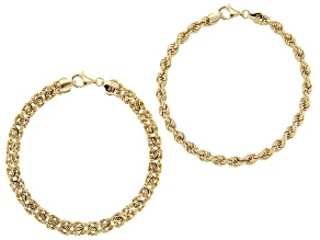18K Yellow Gold Over Sterling Silver Set of 2 Byzantine and Rope Link 7.5 Inch Bracelets