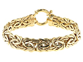 18K Yellow Gold Over Sterling Silver 14MM High Polished Bold Byzantine Link 8 Inch Bracelet
