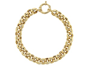 18K Yellow Gold Over Sterling Silver 10MM High Polished Bold Rolo Link 8 Inch Bracelet