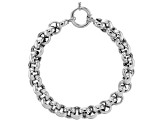 Rhodium Over Sterling Silver 10MM High Polished Bold Rolo Link 8 Inch Bracelet