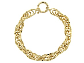 18K Yellow Gold Over Sterling Silver 9MM Diamond-Cut Bold Singapore Link 8 Inch Bracelet
