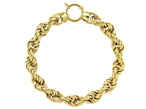 18K Yellow Gold Over Sterling Silver 9MM High Polished Bold Rope Link 8 Inch Bracelet