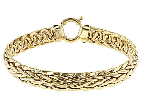 18K Yellow Gold Over Sterling Silver 10MM High Polished Bold Wheat Link 8 Inch Bracelet