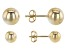 18K Yellow Gold Over Sterling Silver High Polished Set of 2 6MM and 8MM Stud Earrings