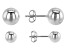 Rhodium Over Sterling Silver High Polished Set of 2 6MM and 8MM Stud Earrings