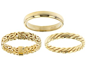 18 Yellow Gold Over Sterling Silver Set of 3 Band Rings