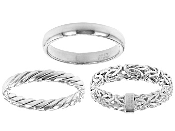 Picture of Rhodium Over Sterling Silver Set of 3 Band Rings