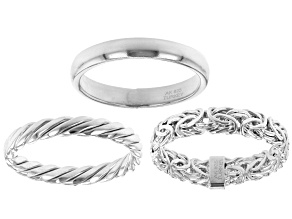 Rhodium Over Sterling Silver Set of 3 Band Rings