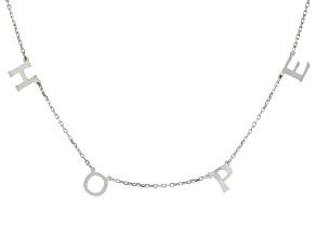 Rhodium Over Sterling Silver HOPE Initial Cable Chain 18 Inch with 2 Inch Extender Necklace