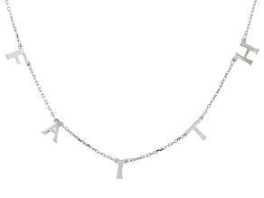 Rhodium Over Sterling Silver FAITH Initial Cable Chain 18 Inch with 2 Inch Extender Necklace