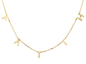 18K Yellow Gold Over Sterling Silver FAITH Initial Cable Chain 18 Inch with 2 Inch Extender Necklace