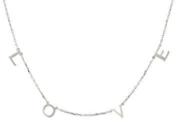 Picture of Rhodium Over Sterling Silver LOVE Initial Cable Chain 18 Inch with 2 Inch Extender Necklace