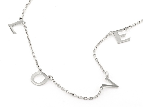 Rhodium Over Sterling Silver LOVE Initial Cable Chain 18 Inch with 2 Inch Extender Necklace