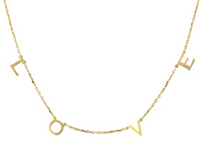 18K Yellow Gold Over Sterling Silver LOVE Initial Cable Chain 18 Inch with 2 Inch Extender Necklace