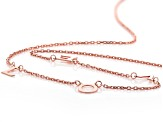 18K Rose Gold Over Sterling Silver LOVE Initial Cable Chain 18 Inch with 2 Inch Extender Necklace