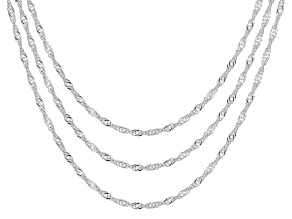Sterling Silver 1.4MM Set of Three 18-20-24 Inch Singapore Chains