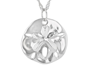 Sterling Silver Sand Dollar Pendant with Singapore Chain