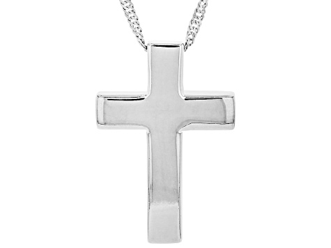 Sterling Silver Cross Pedant and 18 Inch Singapore Chain with 2 Inch Extender