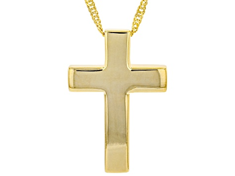18K Yellow Gold Over Sterling Silver Cross Pedant and 18 Inch Singapore Chain with 2 Inch Extender