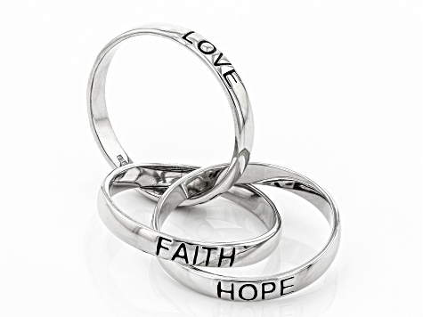 Sterling Silver Triple Rolling Faith, Hope, Love Band Rings