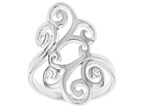 Sterling Silver Elongated Swirl Ring