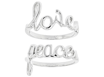 "Picture of Sterling Silver Set of 2 Script ""Love"" and ""Peace"" Rings"