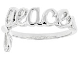"Sterling Silver Set of 2 Script ""Love"" and ""Peace"" Rings"