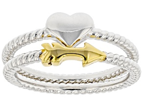 Sterling Silver and 18K Yellow Gold Over Sterling Silver Set of 2 Cupid Arrow and Heart Rings