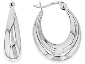 Sterling Silver 24MM Graduated Oval Hoop Earrings