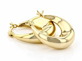 18K Yellow Gold Over Sterling Silver 24MM Graduated Oval Hoop Earrings