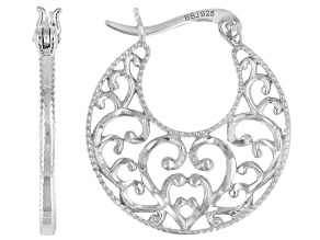 Sterling Silver Diamond-Cut Graduated Filigree Hoop Earrings
